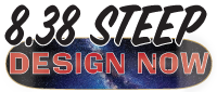 button to add your artwork to design a custom printed 8.38 steep skateboard deck