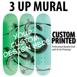 3 custom printed skateboard decks that come together to form a mural, like a skateboard painting.